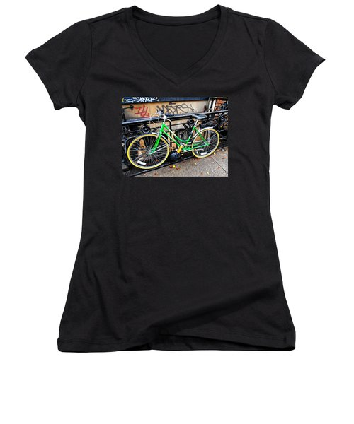 Green Schwinn Bike  Nyc Women's V-Neck T-Shirt (Junior Cut) by Joan Reese