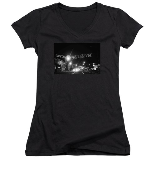 Greetings From Asbury Park New Jersey Black And White Women's V-Neck (Athletic Fit)