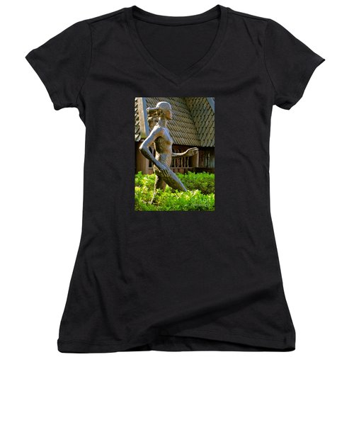 Women's V-Neck T-Shirt (Junior Cut) featuring the photograph Grete Waitz Sculpture by Joy Hardee