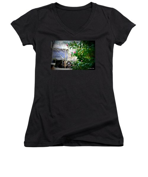 Women's V-Neck T-Shirt (Junior Cut) featuring the photograph Grist Mill Roses by Tara Potts