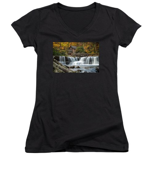 Grist Mill With Vibrant Fall Colors Women's V-Neck (Athletic Fit)