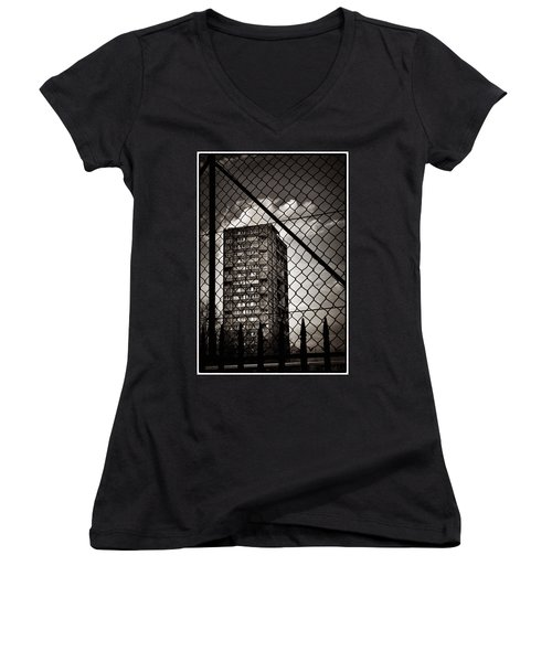 Gritty London Tower Block And Fence - East End London Women's V-Neck