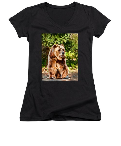 Grizzly Bear - Painterly Women's V-Neck T-Shirt