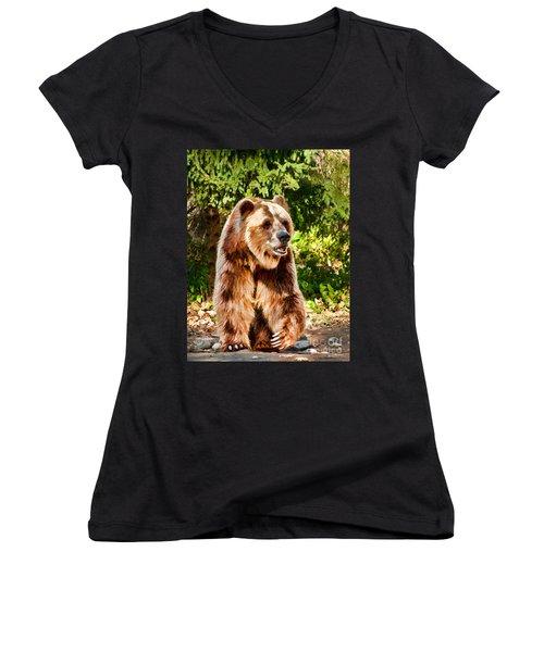 Grizzly Bear - Painterly Women's V-Neck T-Shirt (Junior Cut) by Les Palenik
