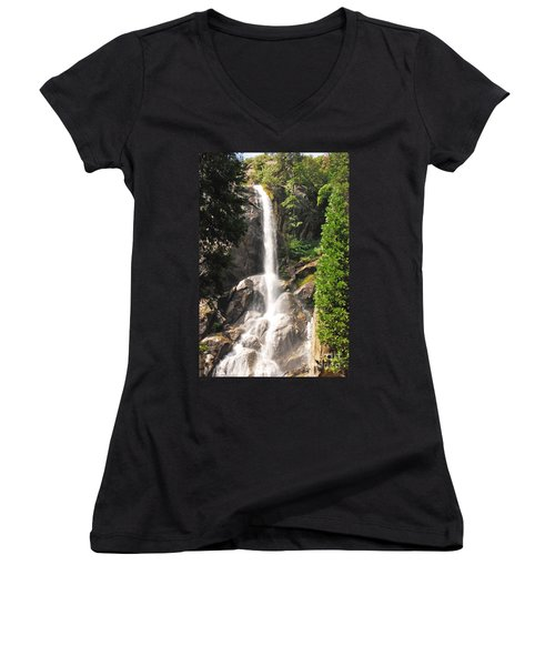 Women's V-Neck T-Shirt (Junior Cut) featuring the photograph Grizzly Falls by Mary Carol Story
