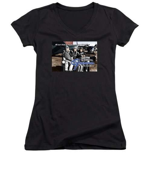 Grumman Test Pilots Women's V-Neck T-Shirt