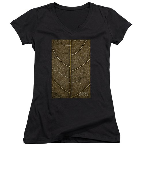 Women's V-Neck T-Shirt (Junior Cut) featuring the photograph Grunge Leaf Detail by Carsten Reisinger