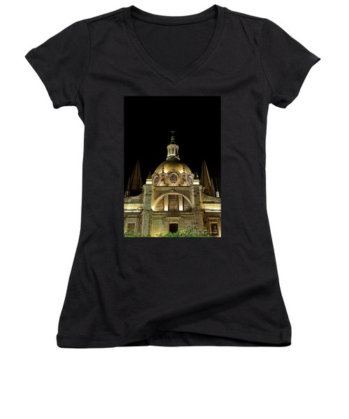 Women's V-Neck T-Shirt (Junior Cut) featuring the photograph Guadalajara Cathedral At Night by David Perry Lawrence