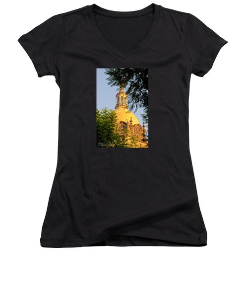 The Grand Cathedral Of Guadalajara, Mexico - By Travel Photographer David Perry Lawrence Women's V-Neck T-Shirt (Junior Cut) by David Perry Lawrence