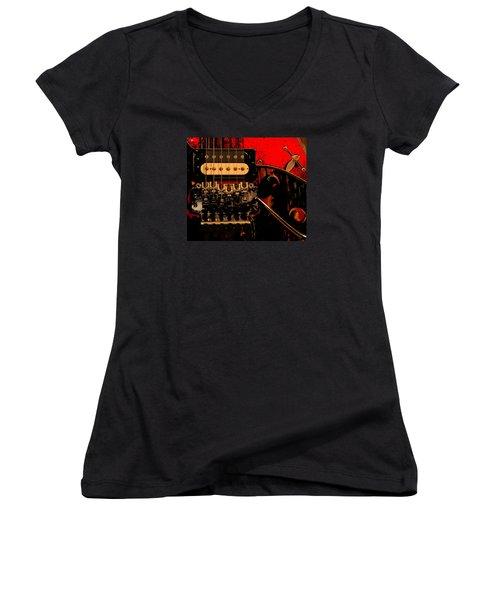 Women's V-Neck T-Shirt (Junior Cut) featuring the photograph Guitar Pickup by John Stuart Webbstock