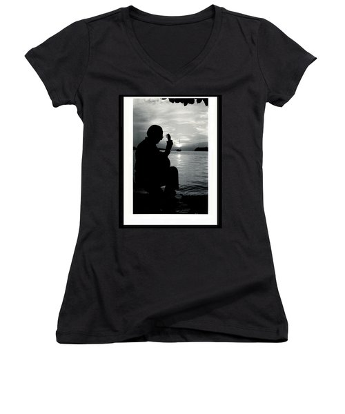 Guitarist By The Sea Women's V-Neck T-Shirt (Junior Cut) by The Art of Alice Terrill