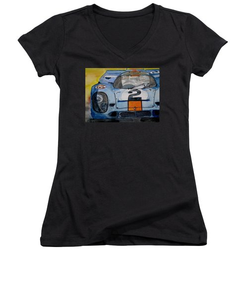 Gulf Porsche Women's V-Neck T-Shirt (Junior Cut) by Anna Ruzsan