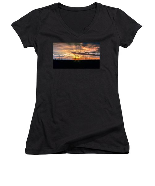 Gulf Shore Sunset Women's V-Neck (Athletic Fit)