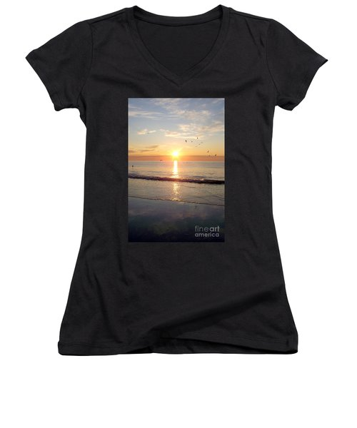 Gulls Dance In The Warmth Of The New Day Women's V-Neck T-Shirt