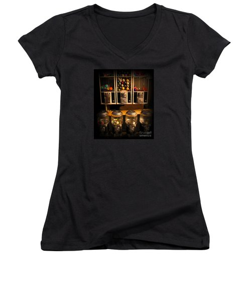 Gumball Memories - Row Of Antique Vintage Vending Machines - Iconic New York City Women's V-Neck T-Shirt (Junior Cut) by Miriam Danar