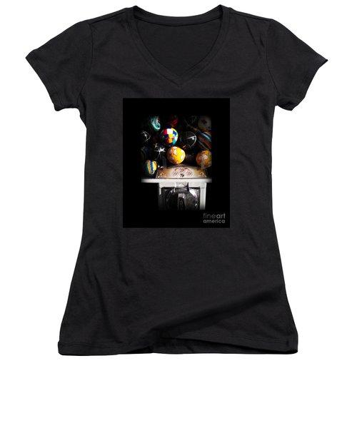 Series - Gumball Memories 1 - Iconic New York City Women's V-Neck T-Shirt (Junior Cut) by Miriam Danar