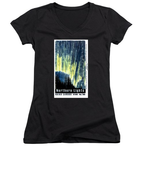 Women's V-Neck T-Shirt (Junior Cut) featuring the photograph Haiga Poster Haiku Canada Conference  by Peter v Quenter
