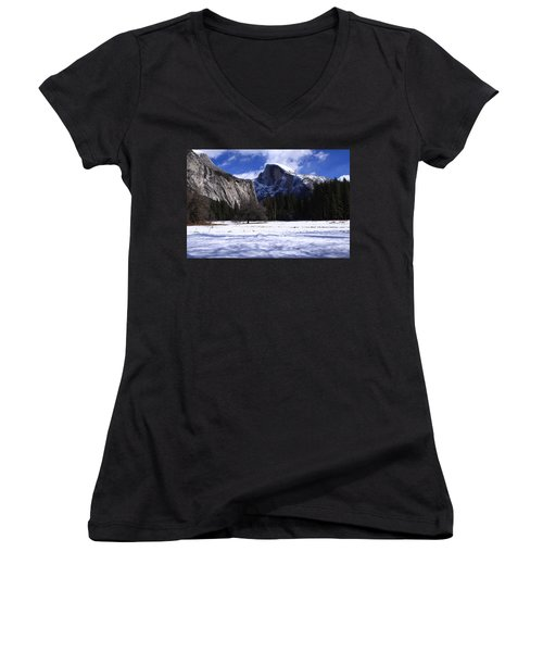 Half Dome Winter Snow Women's V-Neck T-Shirt