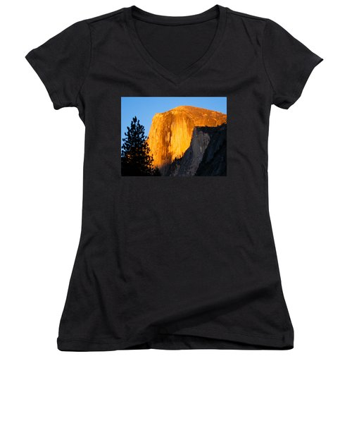 Half Dome Yosemite At Sunset Women's V-Neck