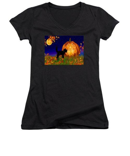 Halloween Black Cat Meets The Giant Pumpkin Women's V-Neck T-Shirt (Junior Cut) by Michele Avanti