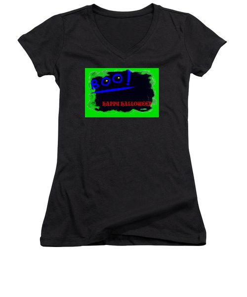 Women's V-Neck T-Shirt (Junior Cut) featuring the digital art Halloween Boo by Christopher Rowlands