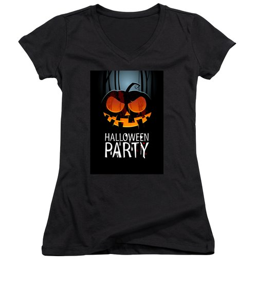 Women's V-Neck T-Shirt (Junior Cut) featuring the painting Halloween Party by Gianfranco Weiss