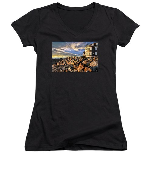 Hampton Beach Sunrise Women's V-Neck (Athletic Fit)