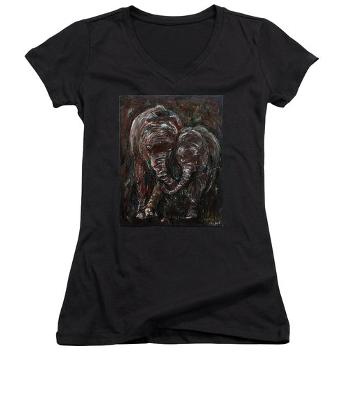 Women's V-Neck T-Shirt (Junior Cut) featuring the painting Hand In Hand by Xueling Zou