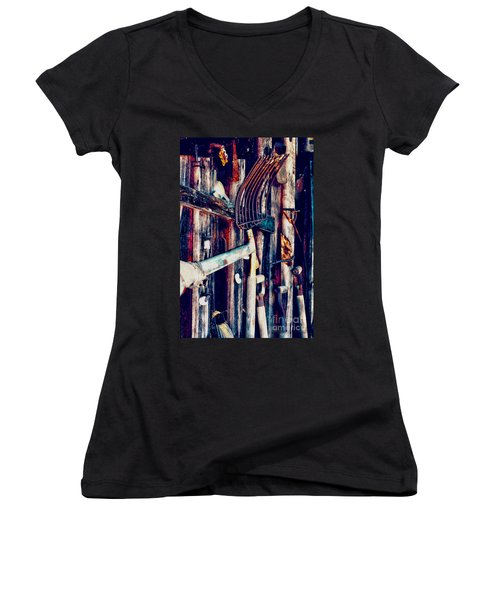 Women's V-Neck T-Shirt (Junior Cut) featuring the photograph Handles And The Pitchfork by Lesa Fine