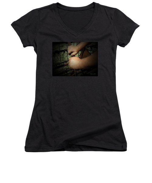Hands That Feed The World Women's V-Neck T-Shirt (Junior Cut) by Cynthia Lassiter