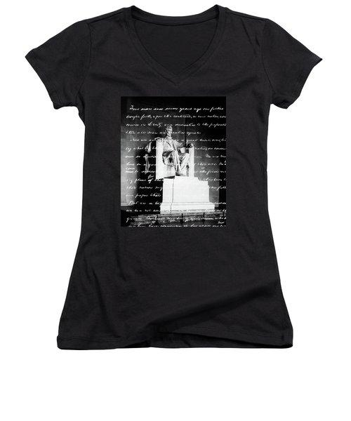 Handwritten Gettysburg Address Women's V-Neck T-Shirt