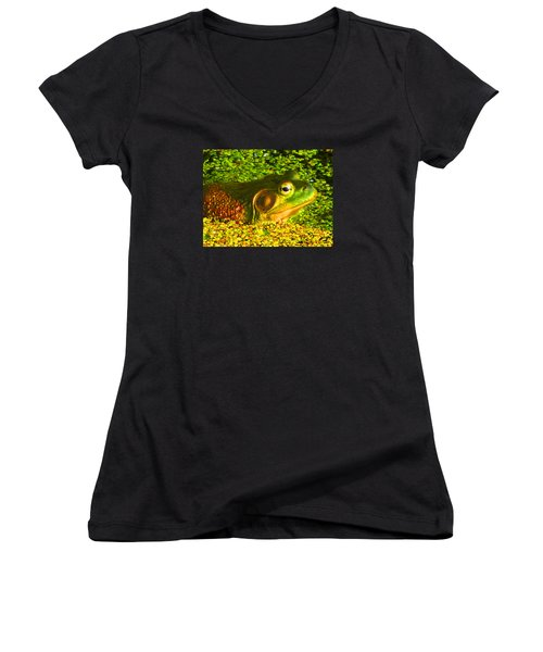 Happy As A Frog In A Pond Women's V-Neck T-Shirt