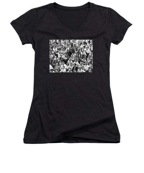 Happy Baseball Fans In The Bleachers At Yankee Stadium. Women's V-Neck T-Shirt (Junior Cut) by Underwood Archives
