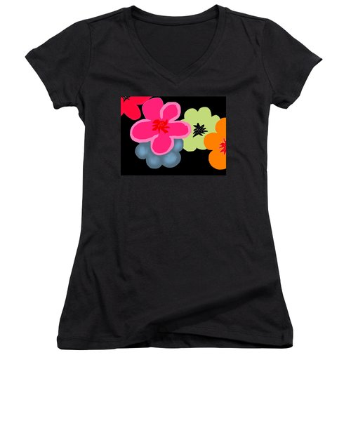 Women's V-Neck T-Shirt (Junior Cut) featuring the digital art Happy Flowers Pink by Christine Fournier