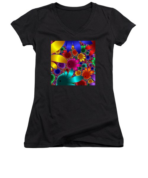 Happy Flowers Women's V-Neck (Athletic Fit)