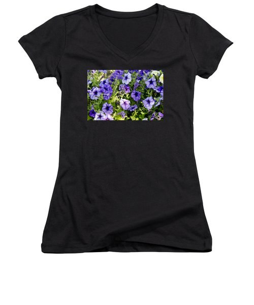 Women's V-Neck T-Shirt (Junior Cut) featuring the photograph Happy Flowers by Wilma  Birdwell