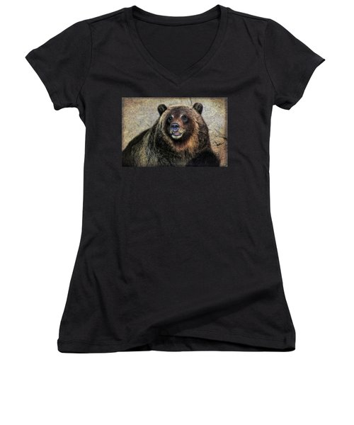 Happy Grizzly Bear Women's V-Neck (Athletic Fit)
