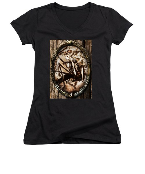 Happy Halloween IIi Sepia Version Women's V-Neck T-Shirt (Junior Cut) by Alessandro Della Pietra