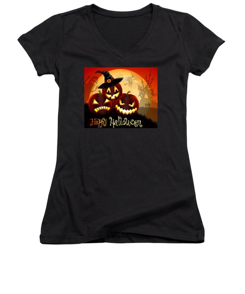 Women's V-Neck T-Shirt (Junior Cut) featuring the painting Happy Halloween by Gianfranco Weiss