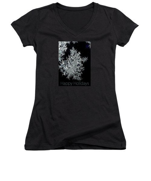 Happy Holidays Women's V-Neck T-Shirt (Junior Cut) by Jodie Marie Anne Richardson Traugott          aka jm-ART