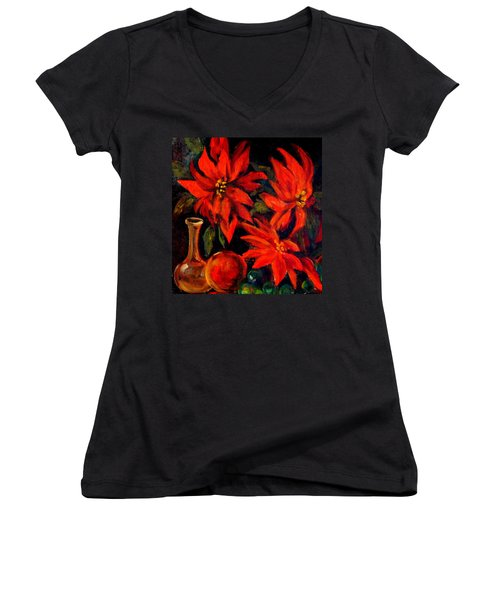 New Orleans Red Poinsettia Oil Painting Women's V-Neck T-Shirt (Junior Cut) by Michael Hoard