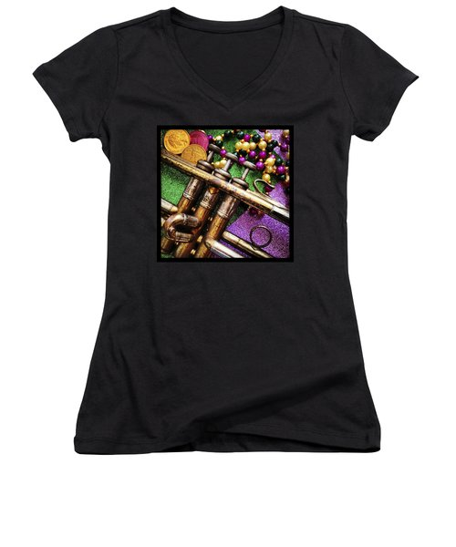 Happy Mardi Gras Women's V-Neck T-Shirt (Junior Cut) by KG Thienemann