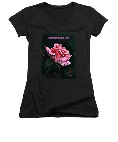 Women's V-Neck T-Shirt (Junior Cut) featuring the painting Happy Mother's Day by Lynne Wright