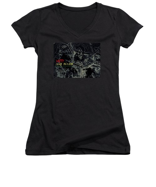 Women's V-Neck T-Shirt (Junior Cut) featuring the digital art Happy Solar Return 470 by Cleaster Cotton
