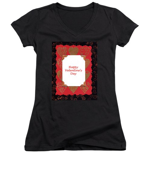 Women's V-Neck T-Shirt (Junior Cut) featuring the photograph Happy Valentines Day Card by Vizual Studio
