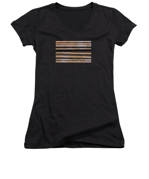 Hard Metal Rebar Pattern Women's V-Neck T-Shirt