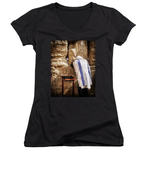 Harken Unto My Prayer O Lord Western Wall Jerusalem Women's V-Neck