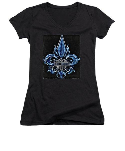 Harley Davidson Fleur De Lys Logo Women's V-Neck T-Shirt (Junior Cut) by Danielle  Parent