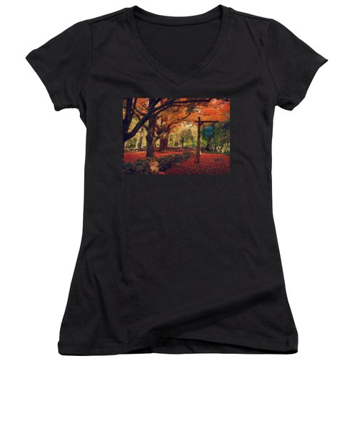 Women's V-Neck T-Shirt (Junior Cut) featuring the photograph Hartwell Tavern Under Orange Fall Foliage by Jeff Folger