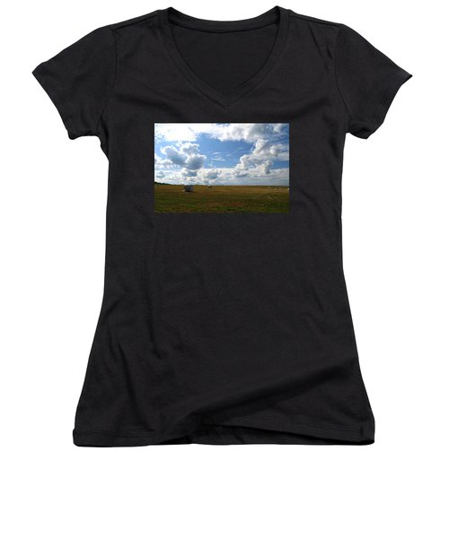 Women's V-Neck T-Shirt (Junior Cut) featuring the photograph Harvest Blue  by Neal Eslinger